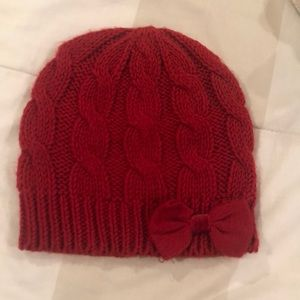 Red beanie with bow